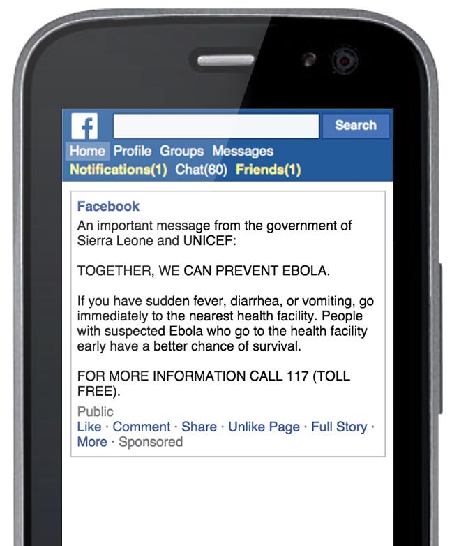 facebook combatte l'ebola. informativa sui sintomi e contatti telefonici d'urgenza