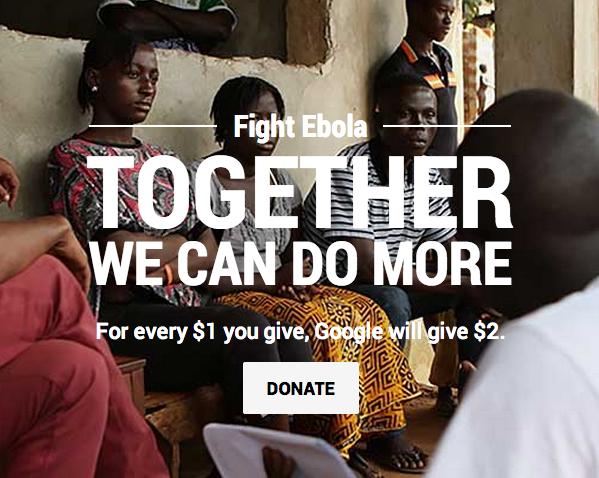 google dona ed esorta a donare per fermare ebola