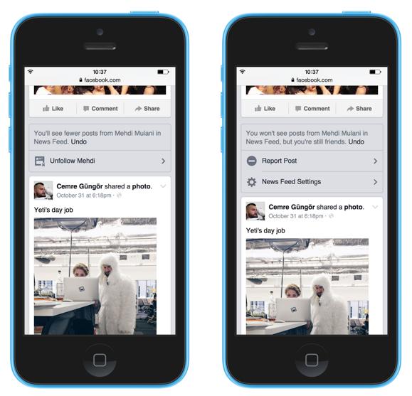 facebook newsfeed: scegliere di non vedere contenuti di un amico o una pagina