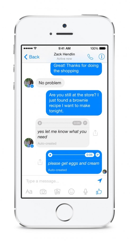 facebook messenger tradurrà i messaggi vocali in testo. L'annuncio di David Marcus