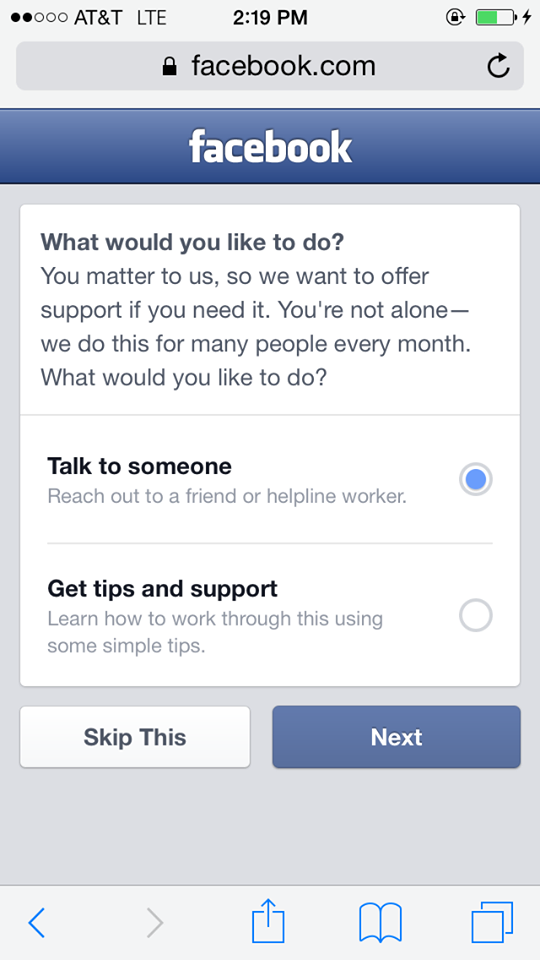 facebook safety contro i suicidi