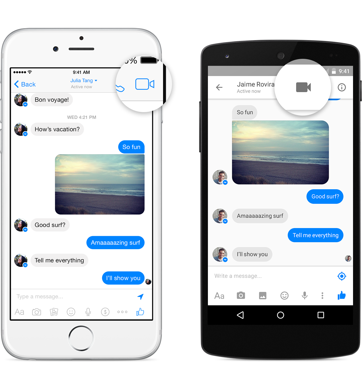 messenger implementa le video call