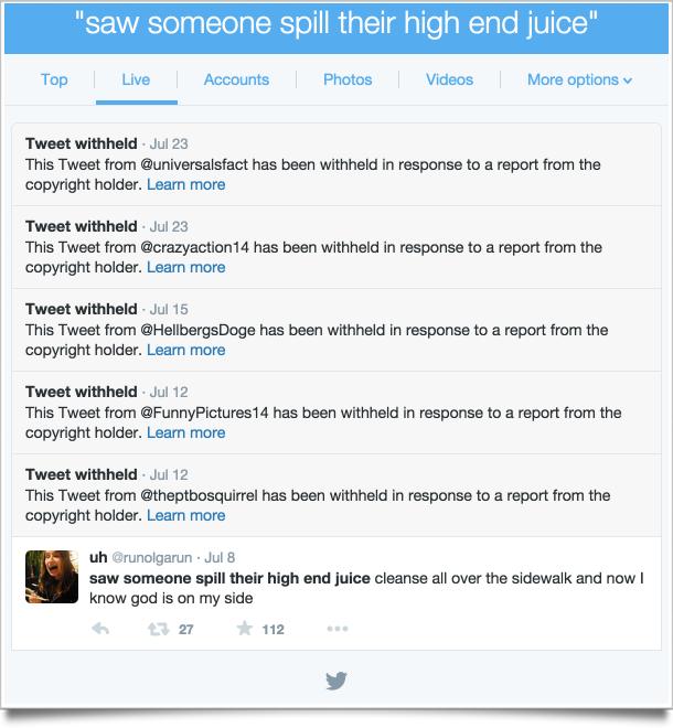 tweet eliminati per violazione del copyright
