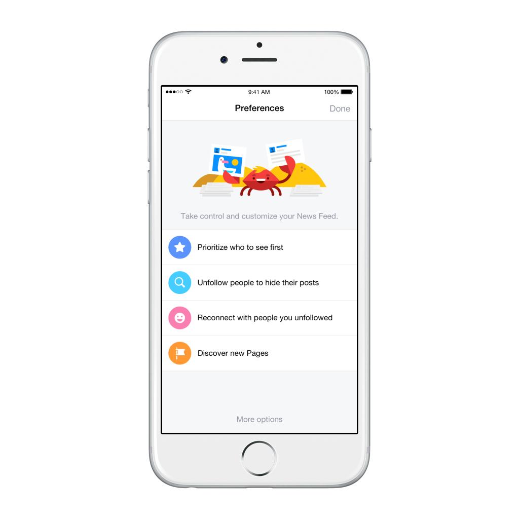Facebook predispone nuovi strumenti per la gestione dei contenuti sul news feed: il menù preferenze