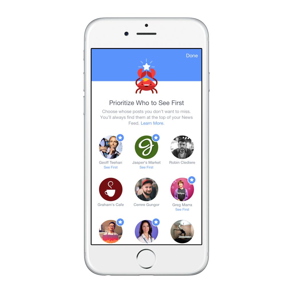 Facebook predispone nuovi strumenti per la gestione dei contenuti sul news feed: scegli chi vuoi vedere prima