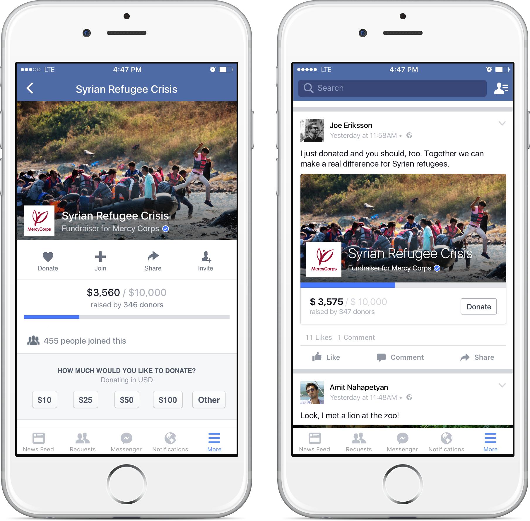 Facebook nuove feature per le donazioni per enti no profit