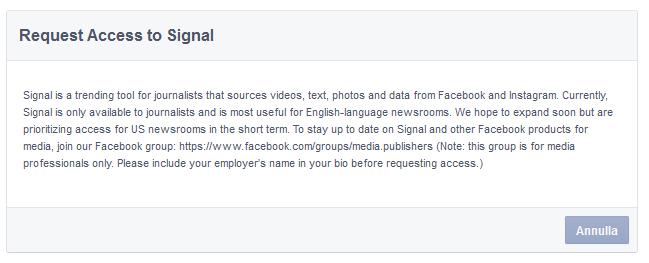 richiesta di accesso a signal