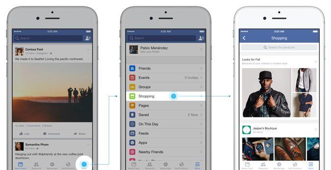 facebook sezione shopping