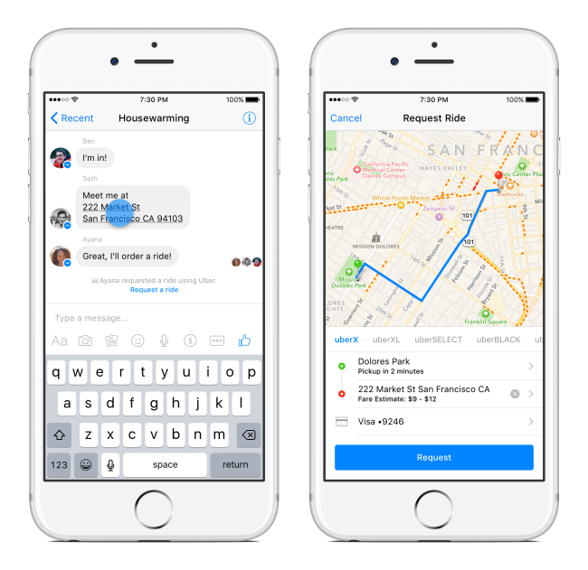 messenger uber request