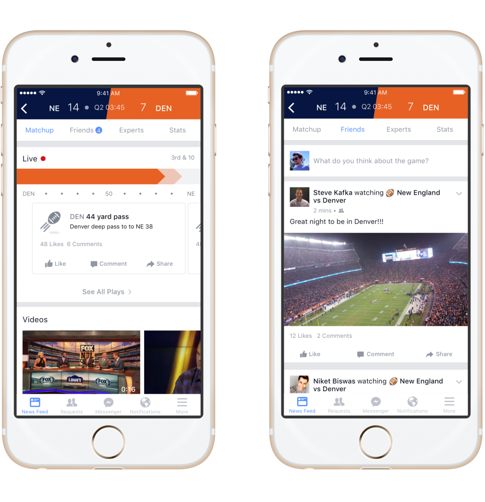 facebook sports stadium interfaccia
