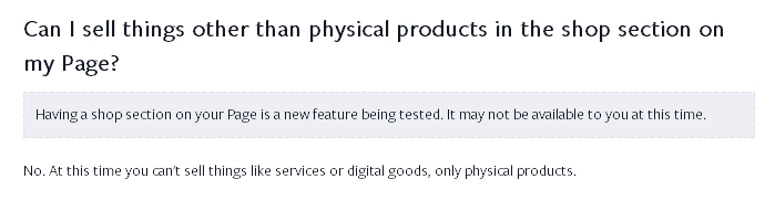 su facebook pagine non sarà possibile vendere servizi