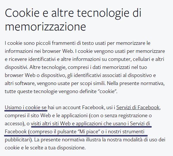 cookie fuori da facebook