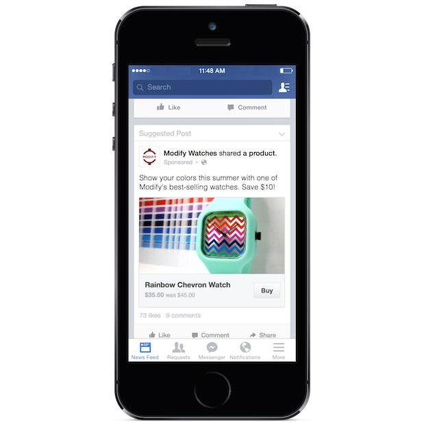 Facebook annuncia l'implentazione del tasto acquista per i contenuti di avertising