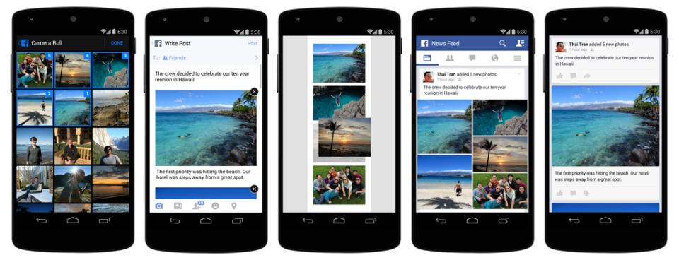 facebook perfeziona la condivisione delle immagini da mobile