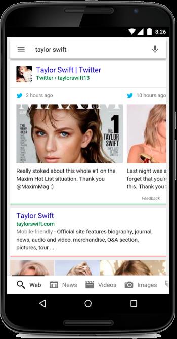 contenuti twitter nelle ricerche di google. Es. Taylor Swift