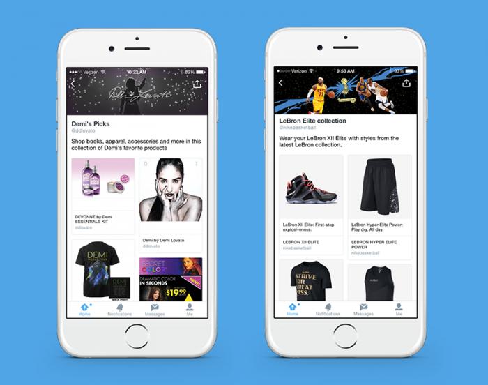 Twitter collezioni e-commerce